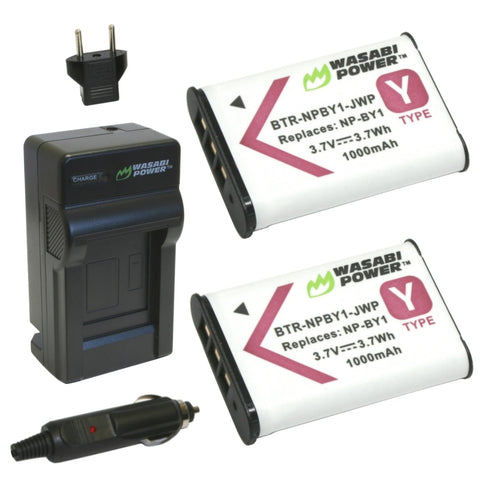 Sony NP-BY1 Battery (2-Pack) and Charger by Wasabi Power