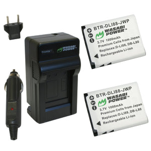 Toshiba Camileo PX1686 Battery (2-Pack) and Charger by Wasabi Power