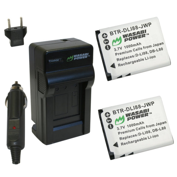Pentax D-LI88, D-L188 Battery (2-Pack) and Charger by Wasabi Power