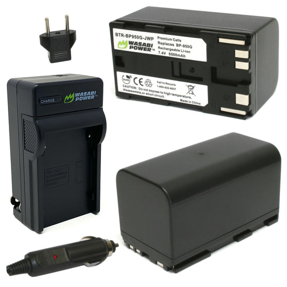 Canon BP-950G, BP-955 Battery and RED Komodo 6K (2-Pack) and Charger by Wasabi Power