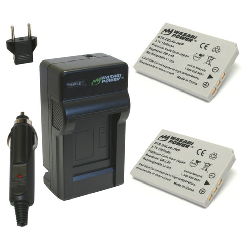 Sanyo DB-L40, DB-L40AU Battery (2-Pack) and Charger by Wasabi Power