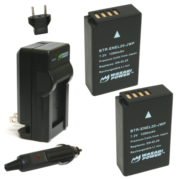 Nikon EN-EL20, EN-EL20a Battery (2-Pack) and Charger by Wasabi Power