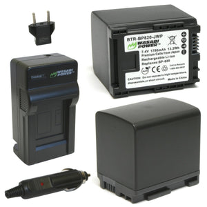 Canon BP-820 Battery (2-Pack) and Charger by Wasabi Power