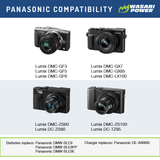 Panasonic DMW-BLE9, DMW-BLG10 Battery (2-Pack) and Dual Charger by Wasabi Power