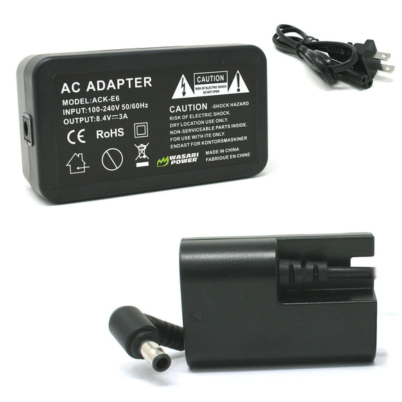Canon LP-E6 AC Power Adapter Kit (Fully Decoded) with DC Coupler for Canon ACK-E6, DR-E6, AC-E6N by Wasabi Power