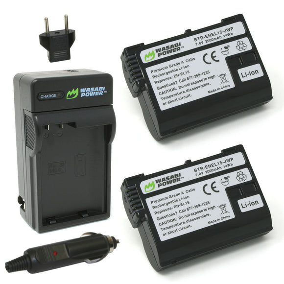 Nikon EN-EL15 Battery (2-Pack) and Charger by Wasabi Power