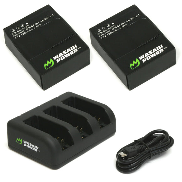 GoPro HERO3, HERO3+ Battery (2-Pack, 1200mAh) and Triple Charger by Wasabi Power