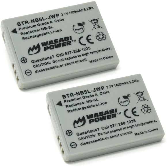 Canon NB-5L Battery (2-Pack) by Wasabi Power