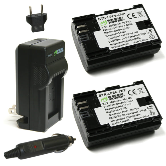 Canon LP-E6, LP-E6N Battery (2-Pack) and Charger by Wasabi Power