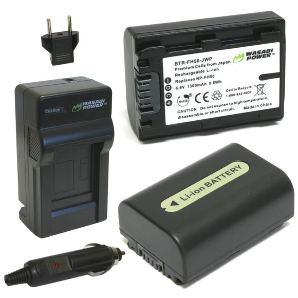 Sony NP-FH50 Battery (2-Pack) and Charger by Wasabi Power