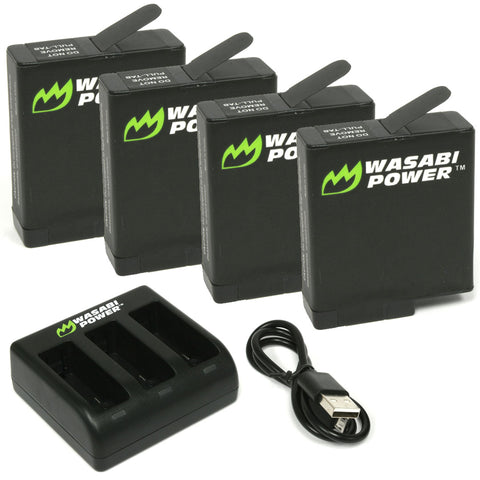 Wasabi Power Battery (4-Pack) and Triple Charger for GoPro HERO8 Black, HERO7 Black, HERO6 Black, HERO5 Black, HERO 2018