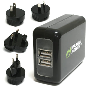 USB Wall Charger (World Plugs, 2-Port, 3.1A) by Wasabi Power
