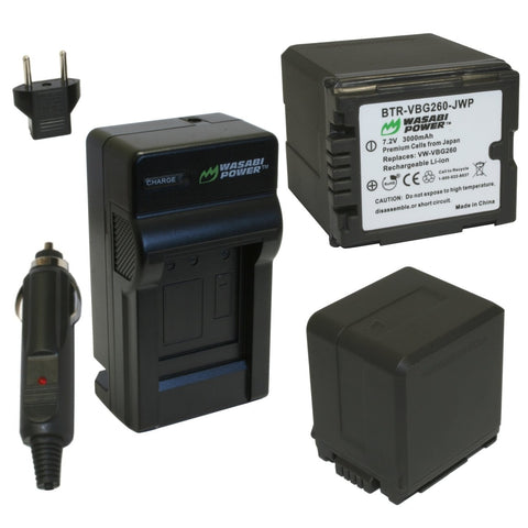 Panasonic VW-VBG260 Battery (2-Pack) and Charger by Wasabi Power