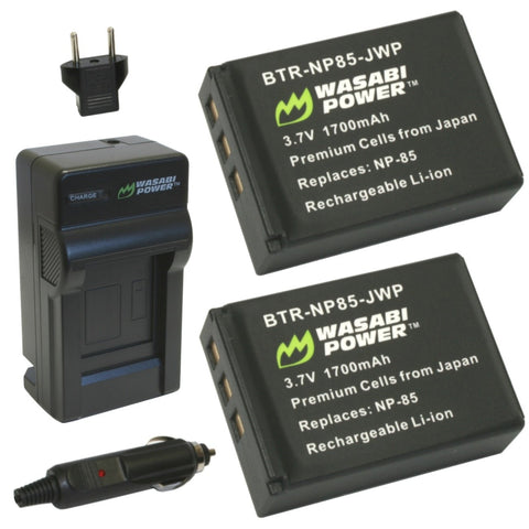 Fujifilm NP-85 Battery (2-Pack) and Charger by Wasabi Power
