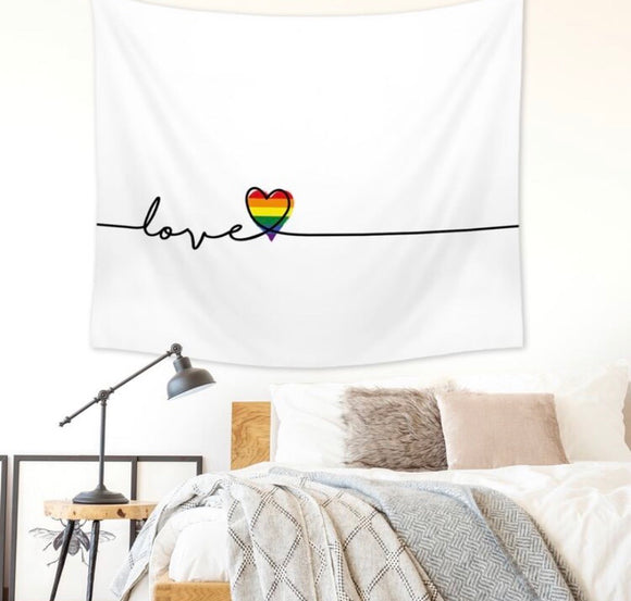 Love wins White tapestry