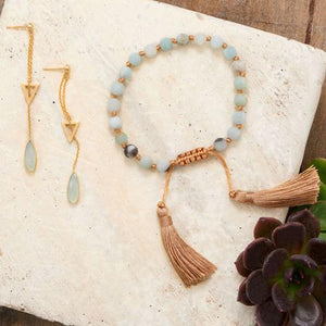 Adjustable Amazonite Tassel Bracelet