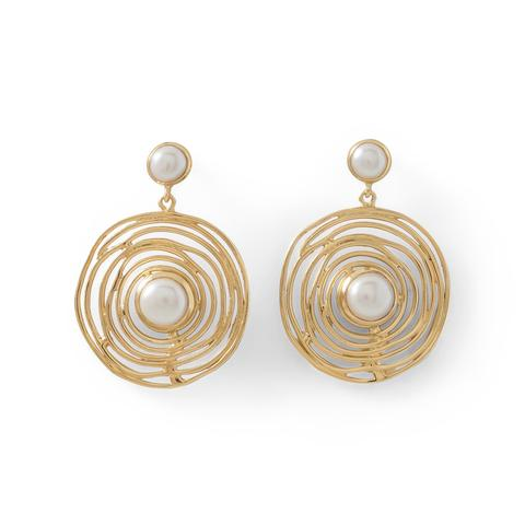 14K Gold Plated Brass Cultured Freshwater Pearl Fashion Earrings