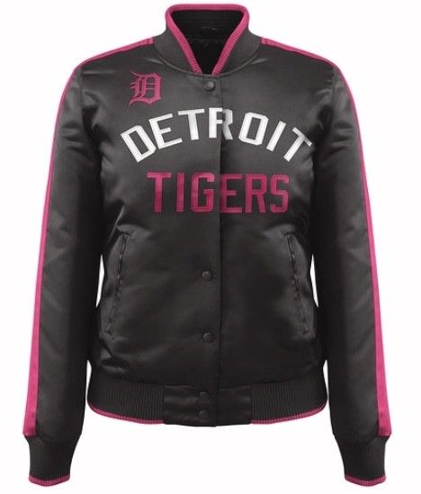 Women's Detroit Tigers Baseball Showtime MLB Jacket by Carl Banks Black with Pink (front)