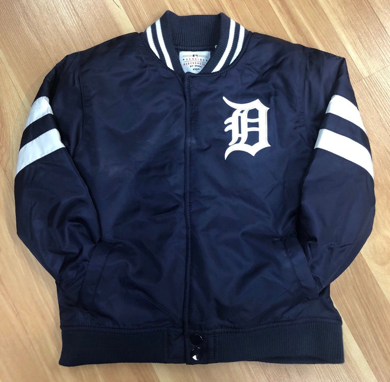 Official Detroit Tigers Kids Nylon Jacket Navy Blue and White (front)