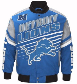 Authentic Detroit Lions Cotton Twill Varsity Jacket (Front)