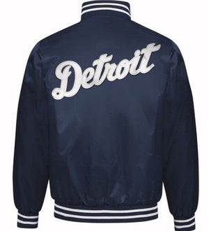 Authentic Detroit Tigers Navy Blue MLB Starter Jacket with White Script (back)