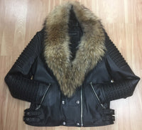 Fashion Asymmetrical Lambskin Biker Jacket with Raccoon Fur