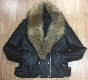 Zippered moto asymmetrical lambskin jacket with Raccoon Fur