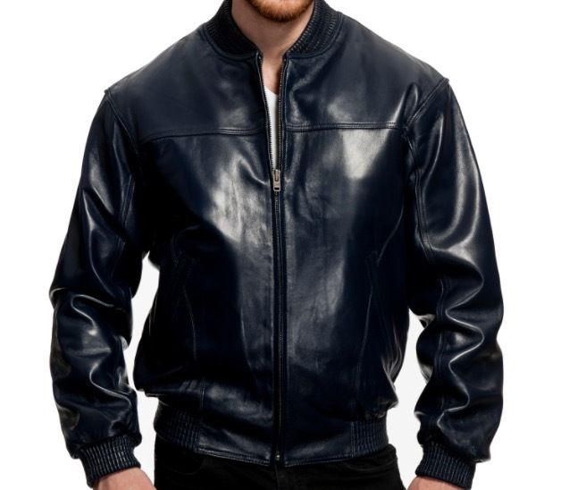 Men's Fashion Rib Collar Baseball Jacket Genuine Lambskin Leather - navy