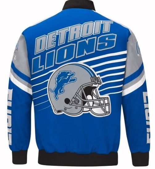Authentic Detroit Lions Cotton Twill Varsity Jacket.