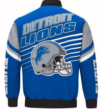 Authentic Detroit Lions Cotton Twill Varsity Jacket (Back)