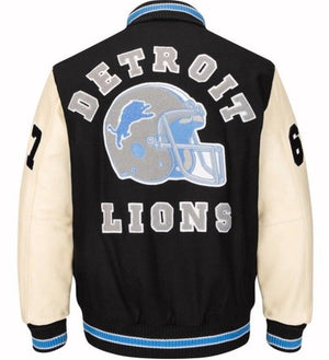 Authentic Detroit Lions Beverly Hills Axel Foley Varsity Jacket (Back)