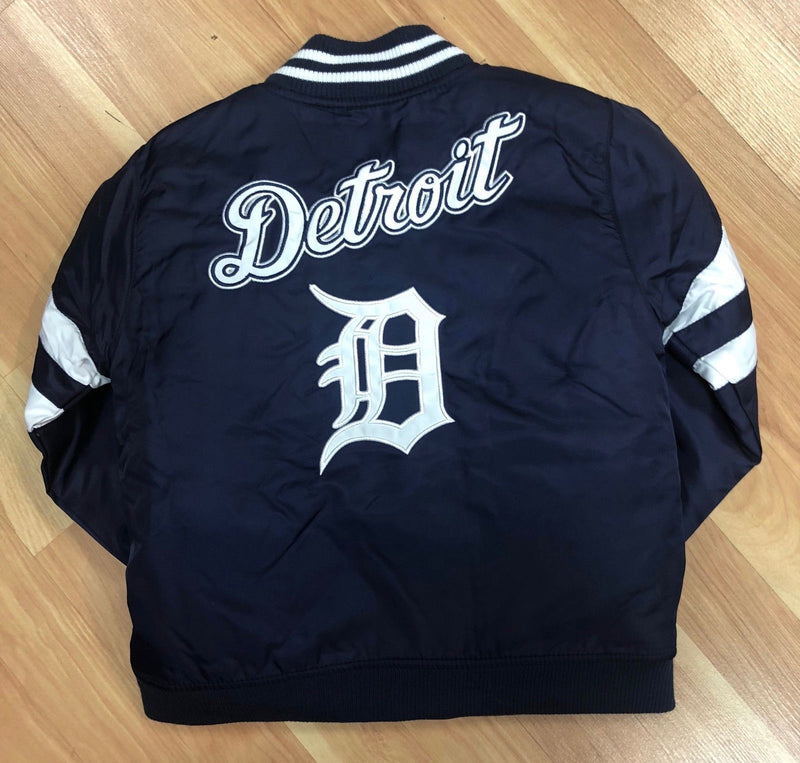 Official Detroit Tigers Kids Jacket Nylon - Navy Blue with White (back)