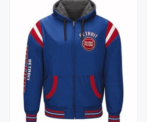 Authentic NBA Detroit Pistons Nylon Reversible Hooded Jacket (blue side)
