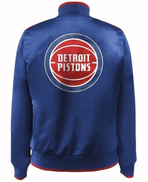 Women's Nylon Detroit Pistons Jacket by Carl Banks - Blue (front)