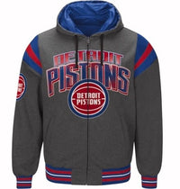Authentic NBA Detroit Pistons Nylon Reversible Hooded Jacket (grey side)