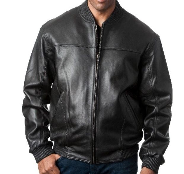 Men's Fashion Rib Collar Baseball Jacket Genuine Lambskin Leather - black