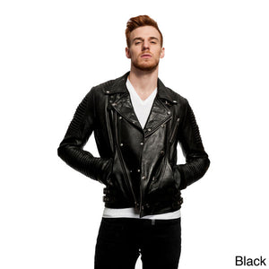 Men's Fashion Assymetrical Biker Jacket Genuine Lambskin Leather - black