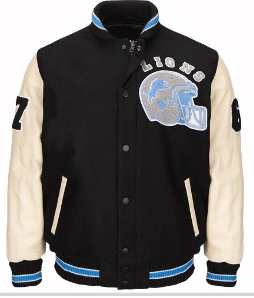 Authentic Detroit Lions Beverly Hills Axel Foley Varsity Jacket (Front)