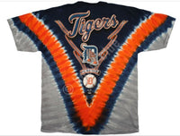 Official Detroit Tigers Tie-Dye Baseball T-Shirt - Navy Blue, Orange, Grey (front)