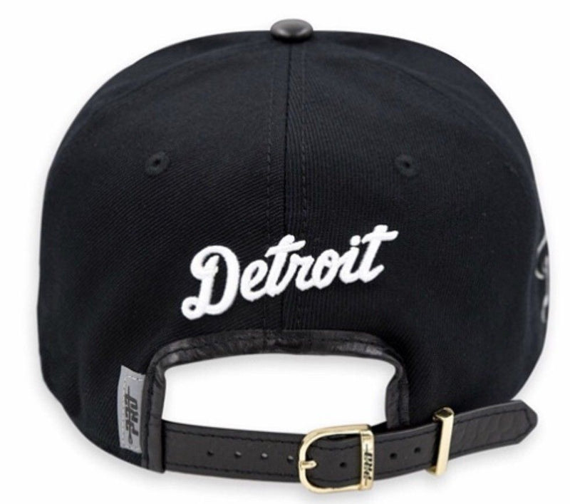 Detroit Tigers Baseball Pro Standard MLB Adjustable Leather Strap Back Cap Black and White (back)