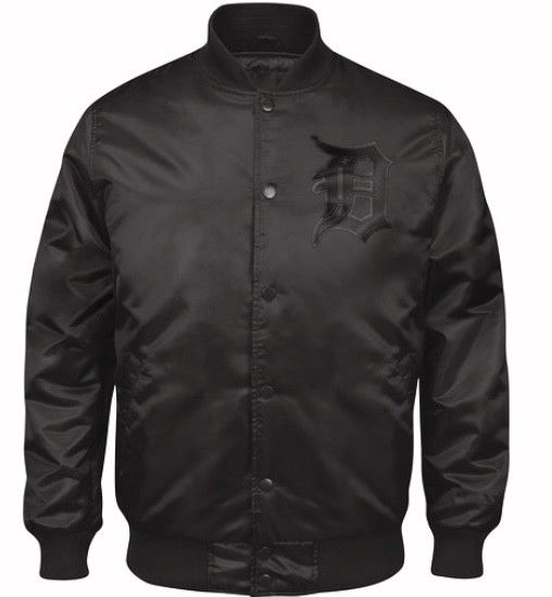 Exclusive Black on Black Detroit Tigers Baseball Authentic Starter Jacket (front)