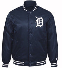 Navy Blue Authentic Detroit Tigers Baseball MLB Starter Jacket with White (front)