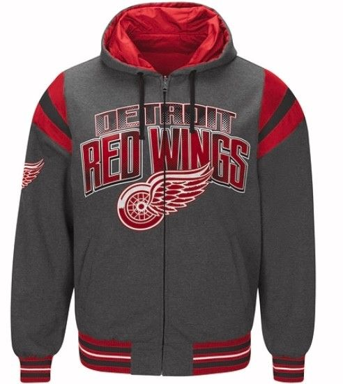 Authentic NHL Detroit Red Wings Hockey Nylon Reversible Hooded Jacket - Grey Side