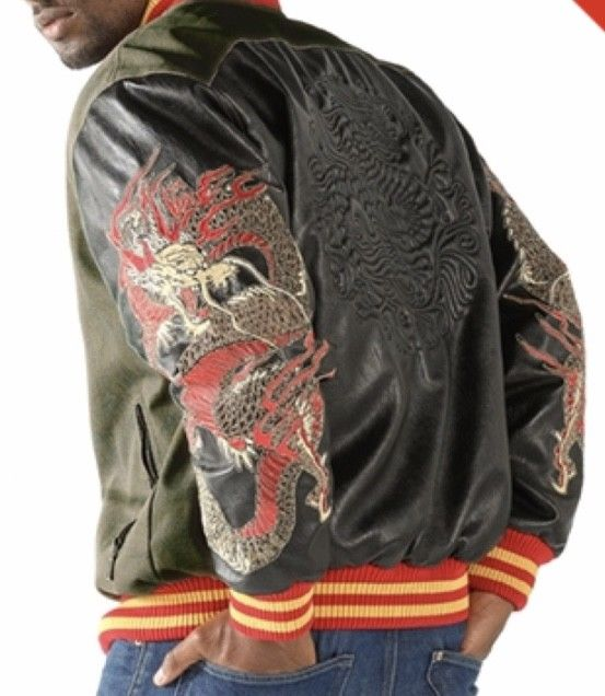 Mens Pelle Pelle Dragon Heart Jacket -- Olive