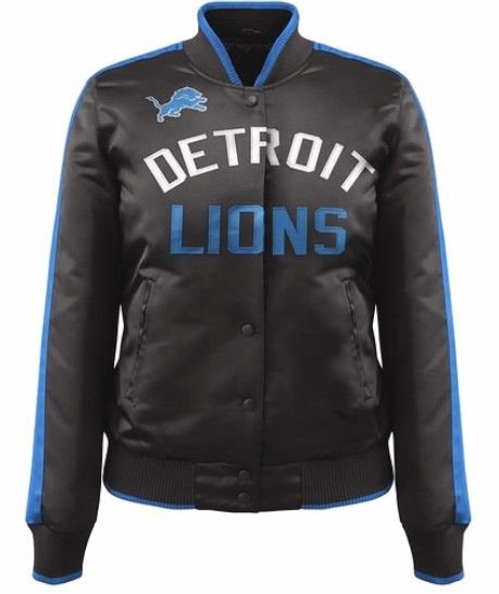 Carl Banks Exclusive Nylon Showtime NFL Detroit Lions Black Ladies Jacket (front)