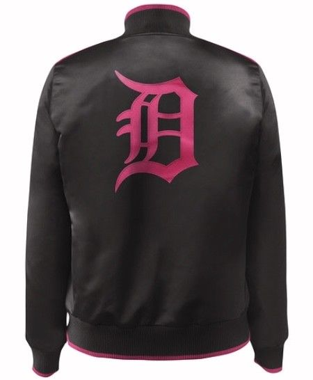 Black and Pink Official Detroit Tigers MLB Baseball Jacket by Carl Banks (back)