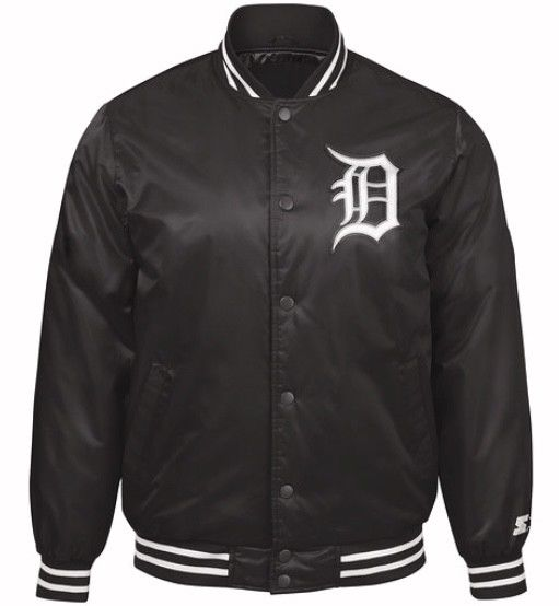 Authentic Detroit Tigers Baseball MLB Starter Jacket Black with White Script (front)