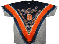 Official Detroit Tigers Tie-Dye Baseball T-Shirt - Navy Blue, Orange, Grey (back)