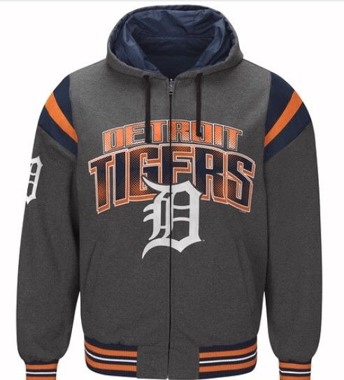 Authentic MLB Detroit Tigers Baseball Reversible Hooded Jacket (grey side)