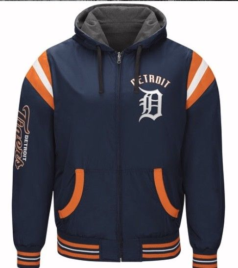 Authentic MLB Detroit Tigers Baseball Reversible Hooded Jacket (blue side)